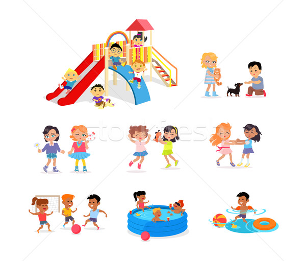 Children Spending Time on Playground or in Pool Stock photo © robuart