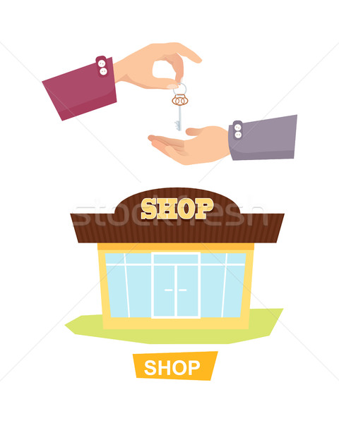 Hand Passing Key. Process of Buying, Renting Shop Stock photo © robuart
