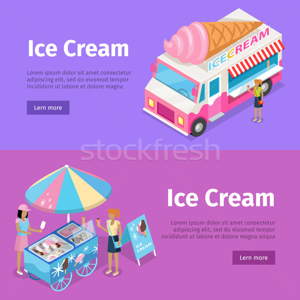 Ice Cream Mobile Umbrella Cart and Minivan Poster Stock photo © robuart