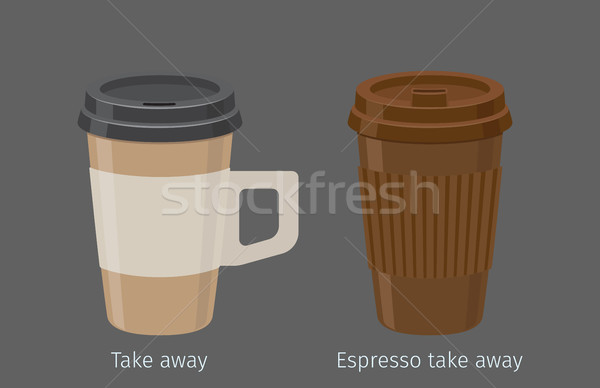 Espresso in Paper Cups with Lid and Handle Vector Stock photo © robuart