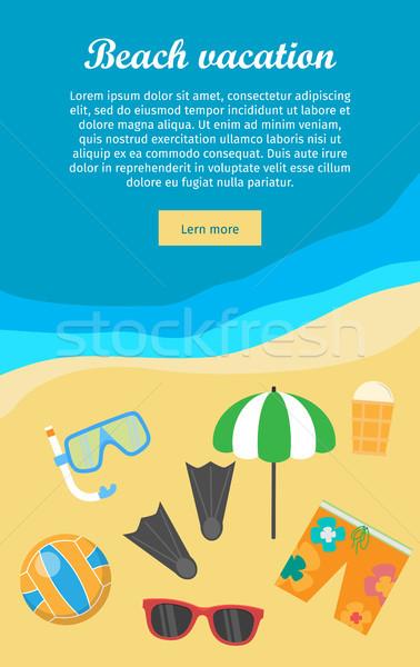 Praia férias bandeira coisas necessário snorkel Foto stock © robuart