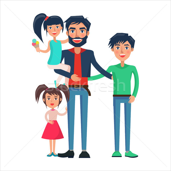 Happy Father of Many Children Vector Illustration Stock photo © robuart