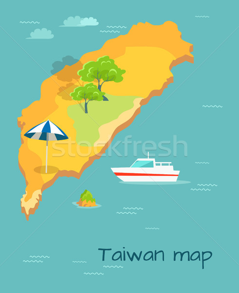 Taiwan Map Cartography. Chinese Island in Ocean Stock photo © robuart