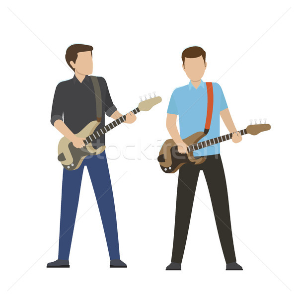 Male Characters Play on Electric and Bass Guitars Stock photo © robuart