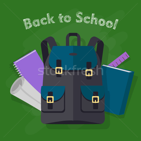 Back to School. Modern Black Backpack with Objects Stock photo © robuart