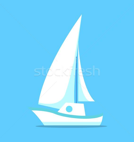 Stockfoto: Zeilschip · witte · icon · geïsoleerd · Blauw · vector