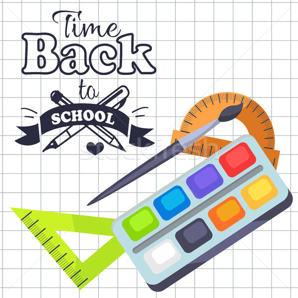 Time Back to School Poster with Pens, Stationery Stock photo © robuart