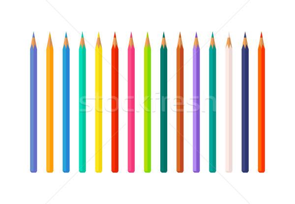 набор цвета карандашей изолированный белый рисунок Сток-фото © robuart