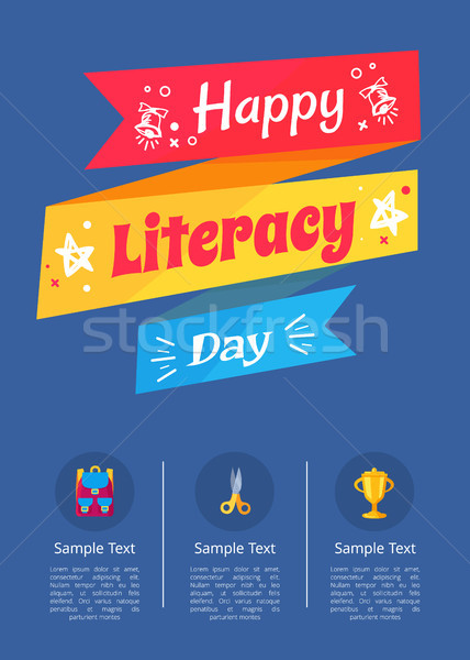 Happy Literacy Day Poster with Icons of Stationery Stock photo © robuart