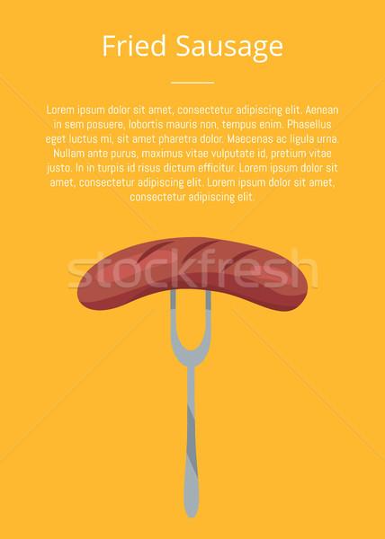 Wurst traditionellen Snack Gabel Text Stock foto © robuart