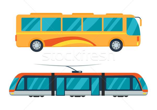 Stock photo: City Bus and Electric Tram Vector Illustration