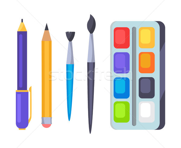 Palette with Paints and Brushes Vector Icons Stock photo © robuart