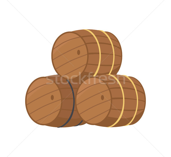 Fából készült sör izolált fehér három üreges Stock fotó © robuart