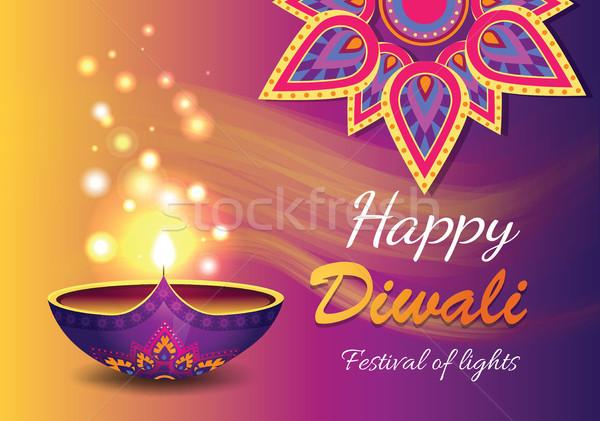 Happy Diwali Promo Poster Vector Illustration Stock photo © robuart