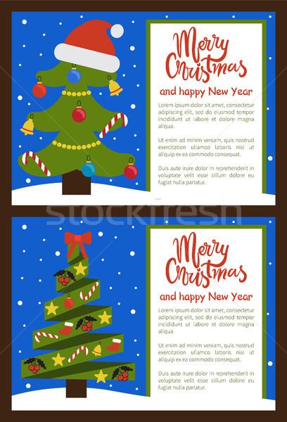 Zdjęcia stock: Wesoły · christmas · szczęśliwego · nowego · roku · plakaty · drzewo