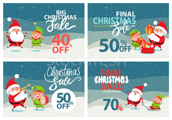 Final Christmas Sale Holiday Discount Posters Set Stock photo © robuart