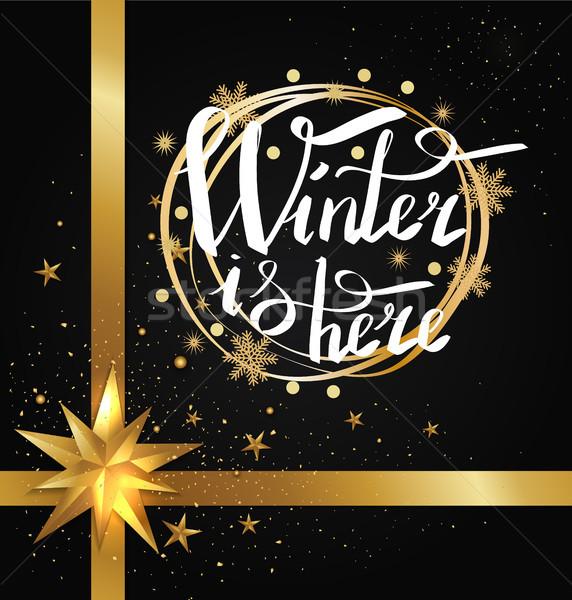 Tél itt kalligrafikus felirat keret írott Stock fotó © robuart