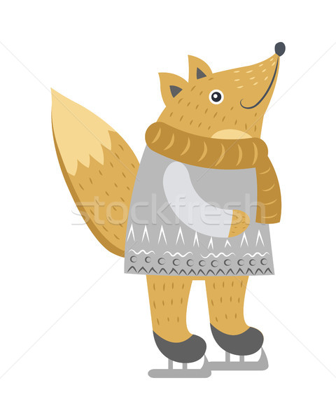 Stock photo: Fox Isolated in Warm Clothes on Skates on White