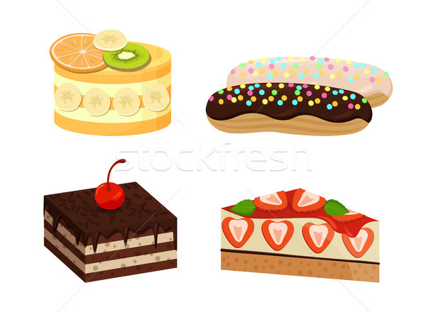 Set of Cute Cakes Isolated on White Background Stock photo © robuart