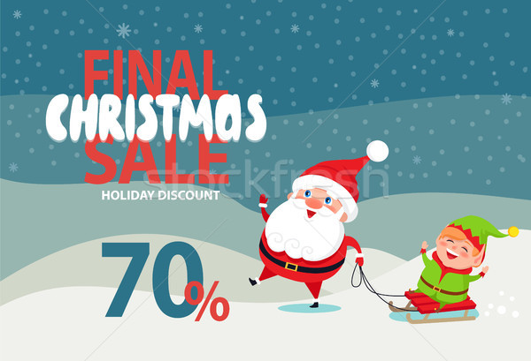 Final Christmas Sale Holiday Discount 70 Poster Stock photo © robuart