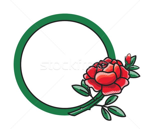 Frame Design with Hand Drawn Red Rose Green Leaves Stock photo © robuart