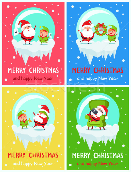Merry Christmas Happy New Year Santa Elf Banners Stock photo © robuart