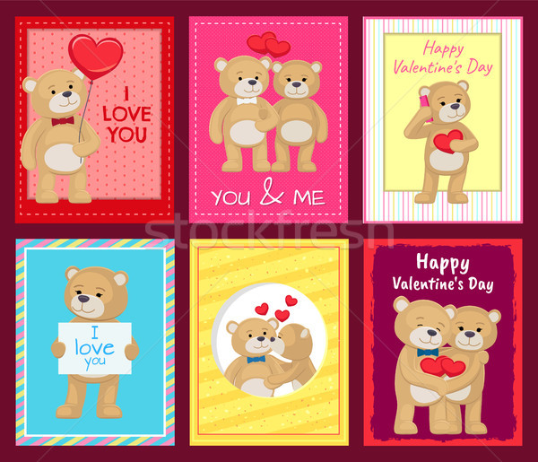Bears on Festive Postcards for Valentines Day Stock photo © robuart