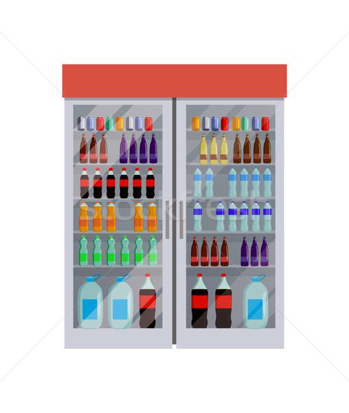 Buzdolabı şişeler su tok farklı kral Stok fotoğraf © robuart