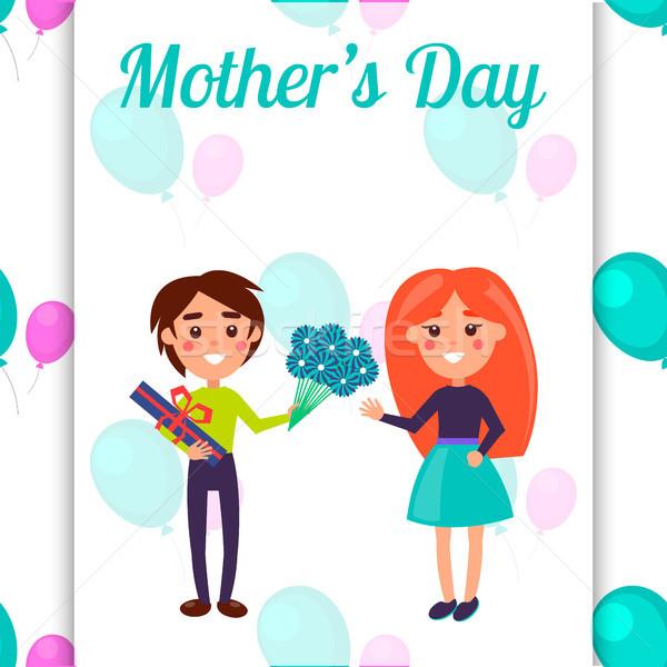 Anyák nap képeslap kicsi gyerekek illusztráció Stock fotó © robuart