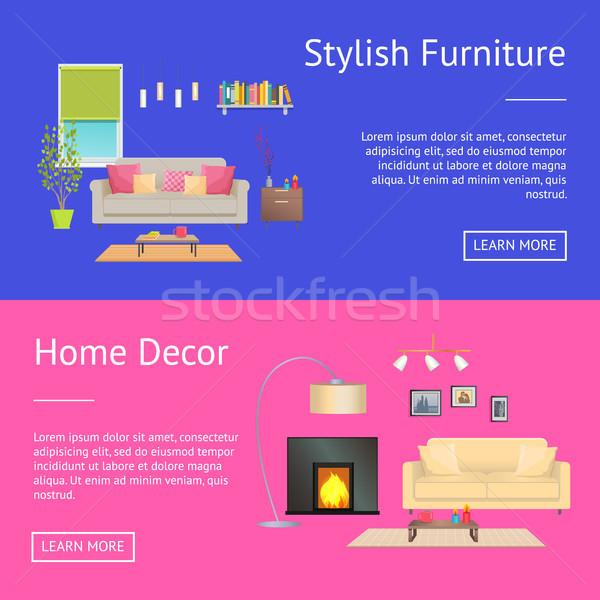 Elegáns bútor lakberendezés háló oldalak gyűjtemény Stock fotó © robuart