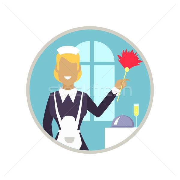 Vrouw huishoudster icon glimlachende vrouw schoonmaken personeel Stockfoto © robuart