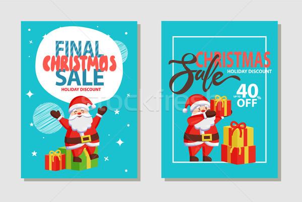 Navidad venta descuento establecer vacaciones Foto stock © robuart