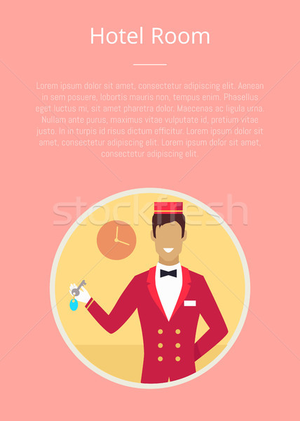 Hotel Room Poster with Circle Icon of Bellhop Stock photo © robuart