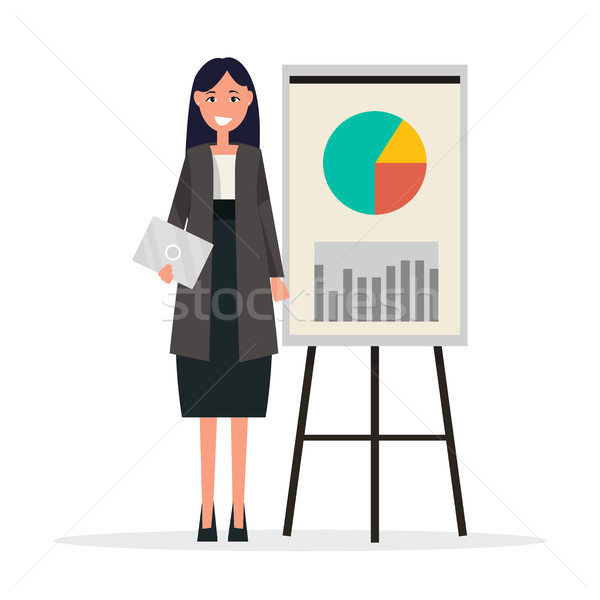 Success Businesswoman with Graphs on Broadsheet Stock photo © robuart