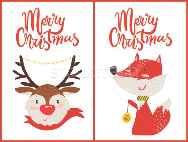 Alegre natal cor conjunto cartões postais veado Foto stock © robuart