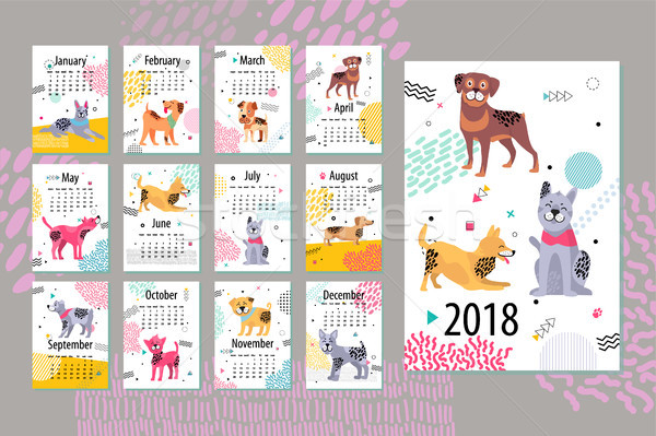 Calendar with Months and Dogs Vector Illustration Stock photo © robuart