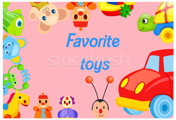 Favorite Toys Collection around Pink Background Stock photo © robuart