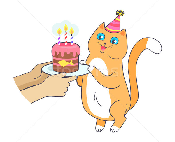 Cat has Birthday Party, Celebrate with Cake Vector Stock photo © robuart