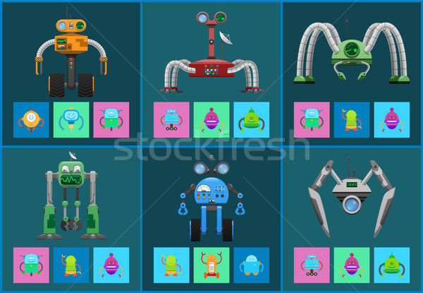 Modern Multifunctional Robots with Detectors Set Stock photo © robuart