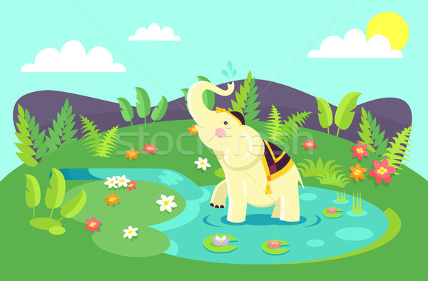 Stock photo: Beige Elephant in Clothing Stands in Clean Puddle.