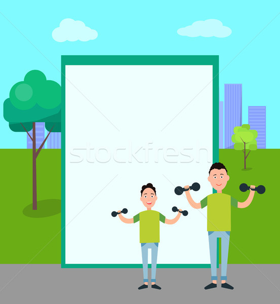 Father and Son Train with Dumbbells vector Stock photo © robuart