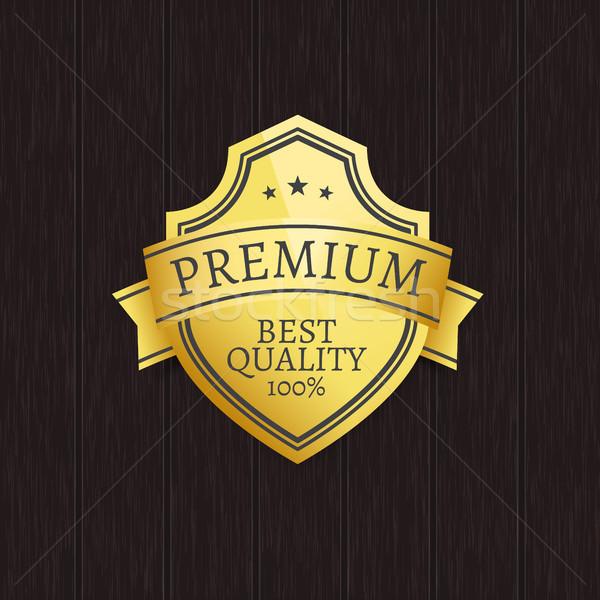 Premie kwaliteit exclusief gouden label houten Stockfoto © robuart