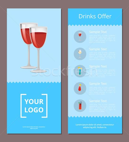 Сток-фото: напитки · предлагать · коктейли · меню · плакат · пару