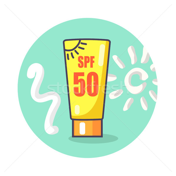 Circle Icon Depicting SPF Sunscreen Lotion Stock photo © robuart
