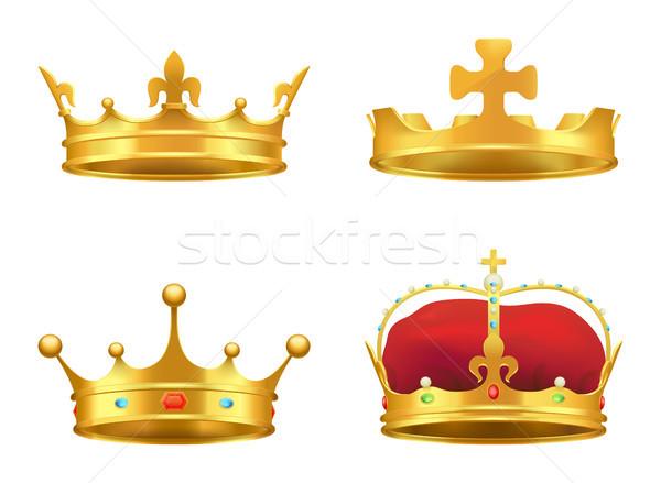 корона Драгоценные камни 3D икона реалистичный Сток-фото © robuart