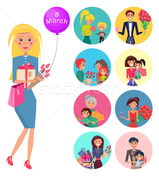 Elegant Woman with Tulips, Giftbox and Baloon Stock photo © robuart