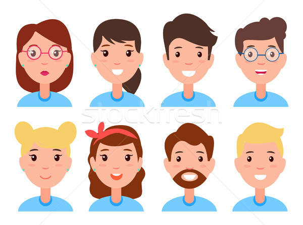 Set of Women and Men Faces, Character Constructor Stock photo © robuart