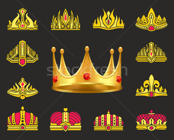 Shiny Luxurious Crowns of Gold with Gemstones Set Stock photo © robuart