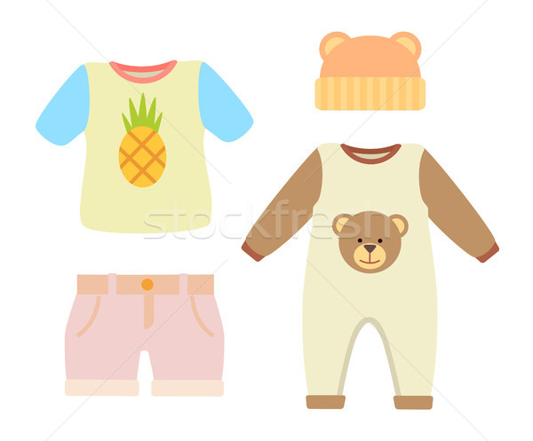 Baby Clothes T-shirt and Hat Vector Illustration Stock photo © robuart