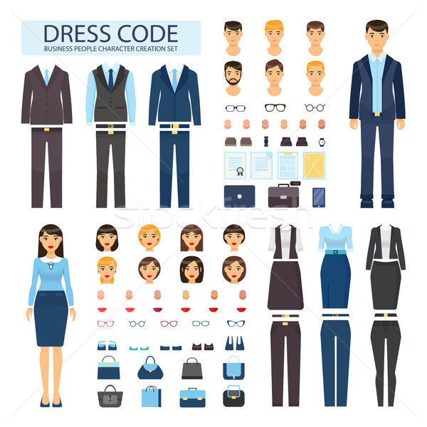 Dress Code for Business People Characters Set Stock photo © robuart